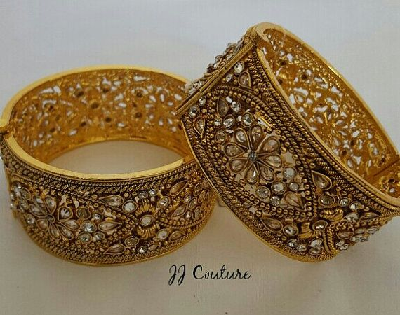 Designer Gold Kundan Kangans Indian Jewelry by JJCOUTUREJEWELS