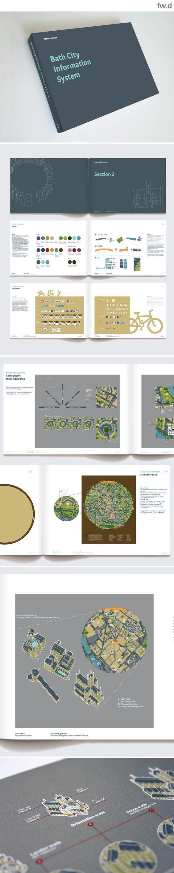 Bath City Information System pattern book. Detailed pedestrian wayfinding & signage design guidelines by fwdesign. www.fwdesign.com  #guidelines #layout #graphics: