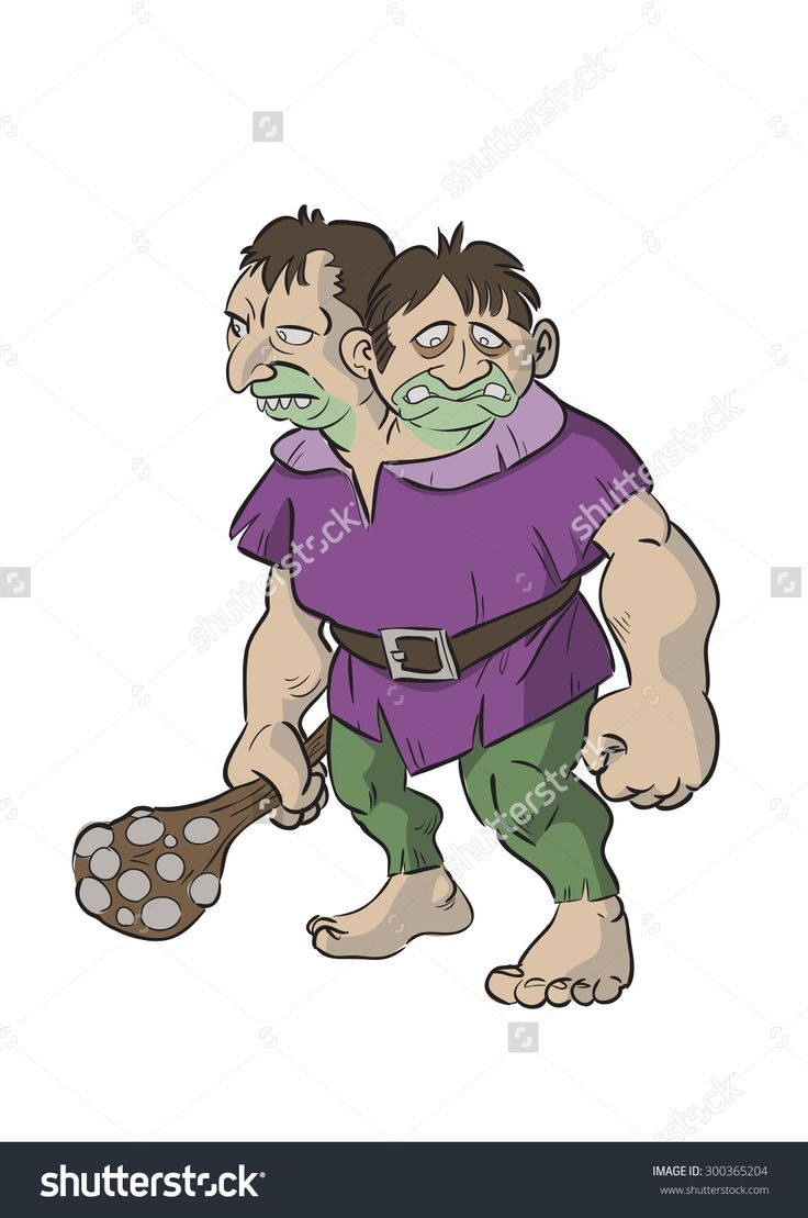 Cartoon Of Two-Heads Giant Searching For Their Preys Stock Vector Illustratie 300365204 : Shutterstock