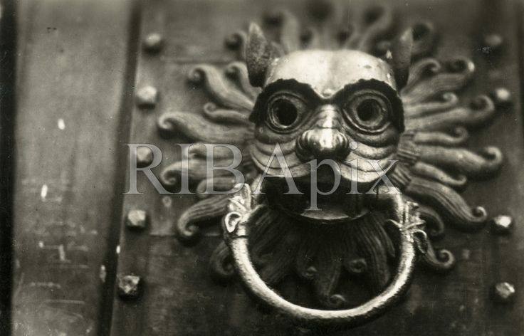 Welcome to the RIBA's collections! The door knocker, Brougham Hall, Penrith, Cumbria - a copy of an early medieval door knocker at Durham Cathedral (made in 1844, photographed around 1900). KR. [RIBA58827]