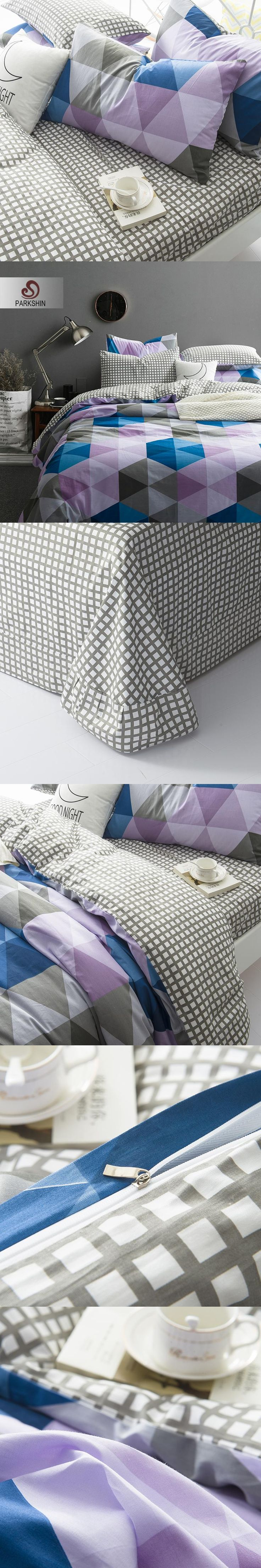 parkshin nordic style bedding sets 100 cotton duvet cover set triangle bed sheet bed linen