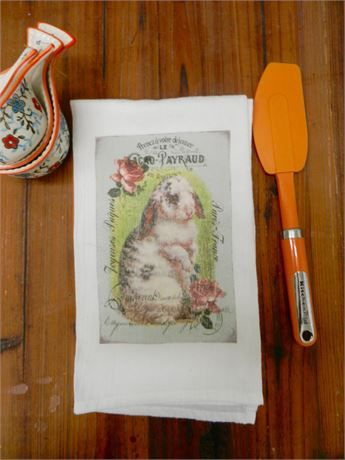Handmade vintage look Easter rabbit shabby chic decorative and functional tea towel. This towel does not have to be on display just at Easter. It can be used and displayed all year round. The image has a vintage look with some faded spots throughout. Please note the imperfections as I think these give the towel a vintage look. The Victorian French image of the rabbit has been transferred by a commercial heat press onto the flour sack kitchen tea towel . The inks will not bleed when washe...