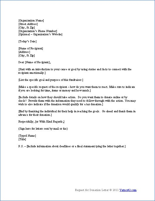 donation request letter - How to write a donation request letter - fundraiser letter template
