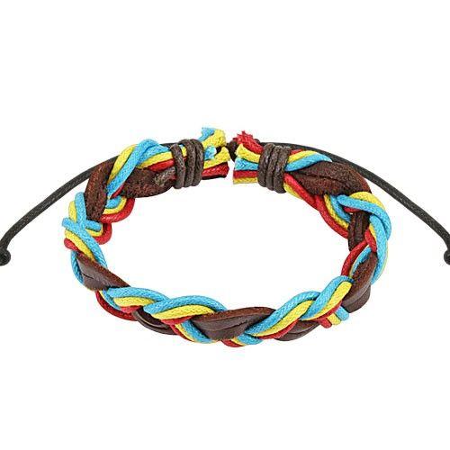 Bracelet cordons tressé rasta en cuir WajBracelet de couleurs rasta en cuir, réglable par coulissement dans un noeud de 190mm à 250mm. Vendu à l'unité.