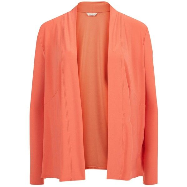 Kaliko Waterfall Cardigan, Coral ($27) ❤ liked on Polyvore featuring tops, cardigans, coral cardigan, red long sleeve top, long sleeve tops, long sleeve cardigan and kaliko