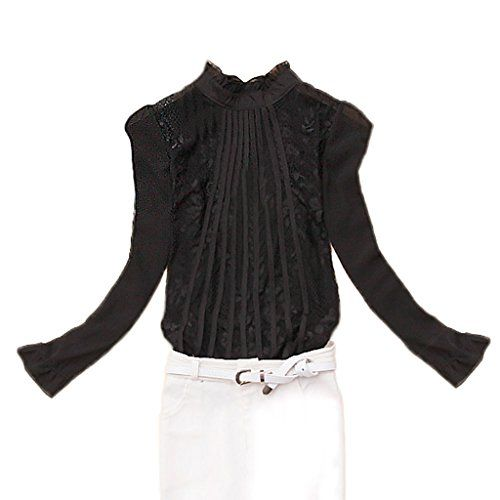 【FanShou Fashion Store】レディス スタンド カラー プリーツ ストライプ 長袖 ブラウス Black M FanShou Fashion Store http://www.amazon.co.jp/dp/B0152Z1CWC/ref=cm_sw_r_pi_dp_ieHawb1NJSA21