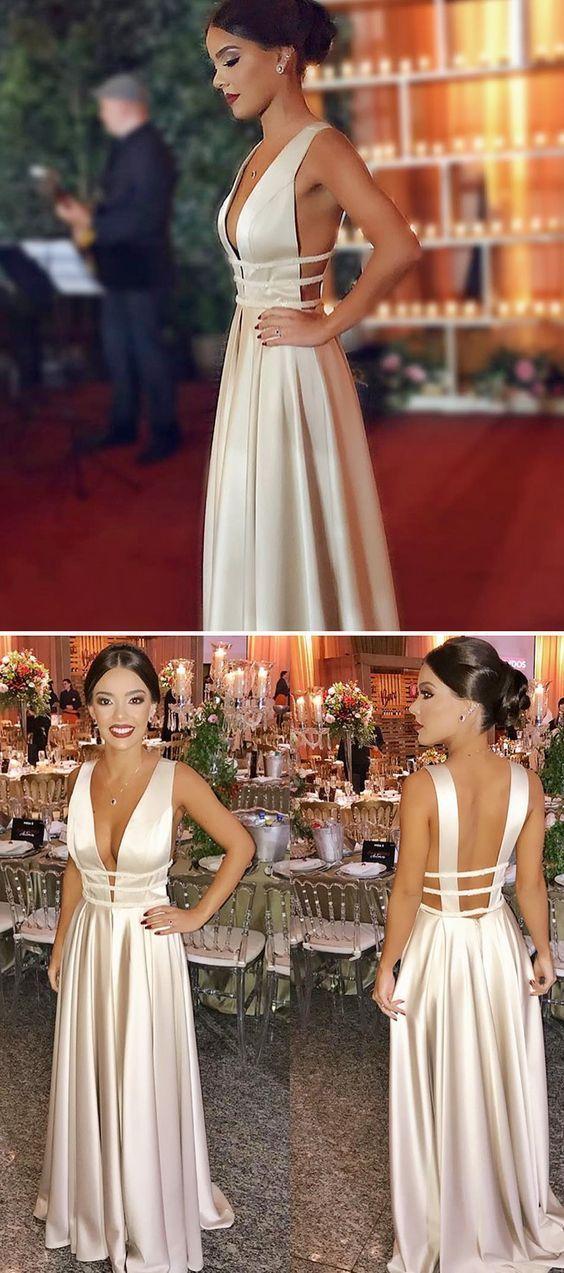 Einfache Sexy Deep V-Ausschnitt A-Line Satin Abendkleid Nach Maß Lange Backless Abendgesellschaft Kleider Fashion Abendkleider PD409
