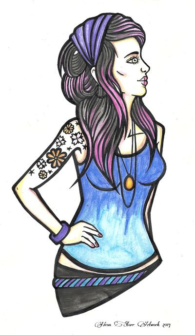 """Tattooed Alternative Girl"" Art Print by NeonStarr | Society6"