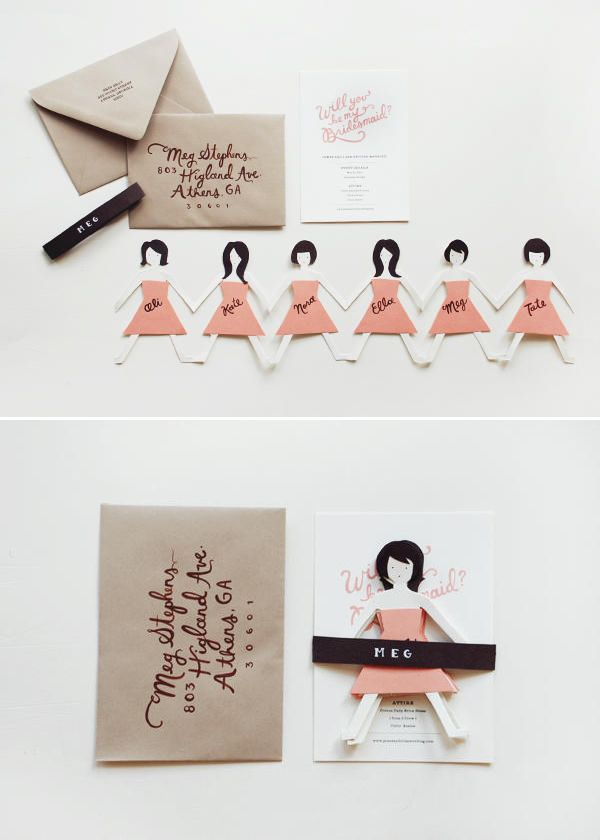 Bridesmaid paper doll cutouts -- An adorable way to ask your friends to be part of your big dayBridesmaid Cards, Ideas, Paper Dolls, Bridesmaid Paper, Dolls Cutout, Bridesmaid, Adorable, Diy, Big Day