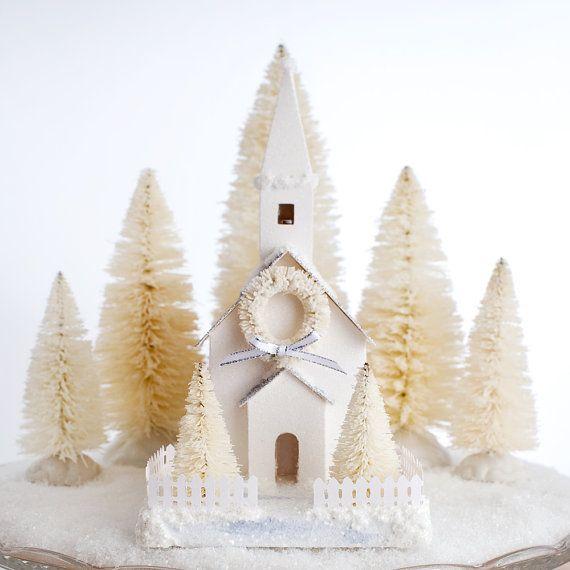 Putz Church Christmas Decoration Glitter by HolidaySpiritsDecor