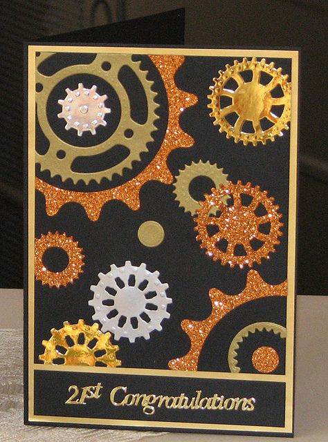 Metallic and glitter paper cogs (Spellbinders sprightly sprockets) - how to make a boy card fancy.