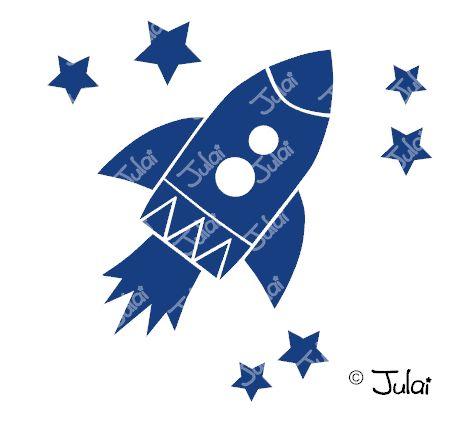 Bügelbilder - Bügelbild Rakete 13 x 8 cm mit Sternen - ein Designerstück von Julai-Shop bei DaWanda