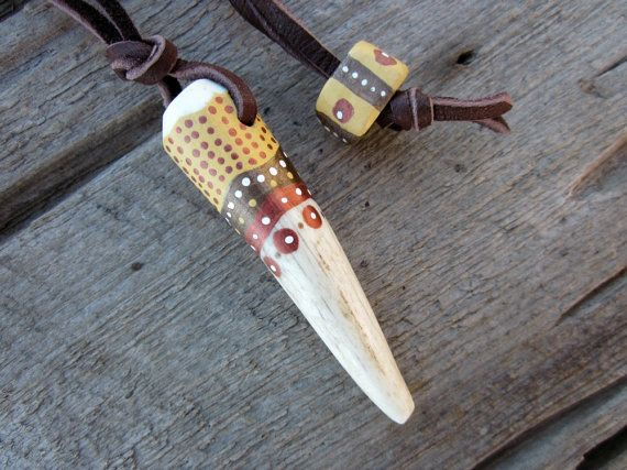 Hand Painted Antler Necklace - Antler Jewelry - Wearable Art - Elk Antler Horn Tip - Bohemian Tribal Primitive - Unisex