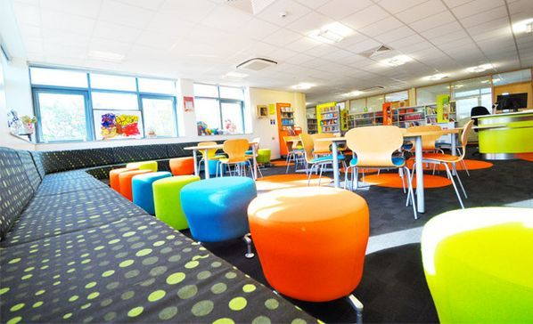 I love how vibrant and flexible this space is.  Looks like a fun and comfortable place to learn! | Steven Weber @curriculumblog Learning Space | Bright, Flexible, and Student-Friendly-I would love to have this furniture! Break the mold!