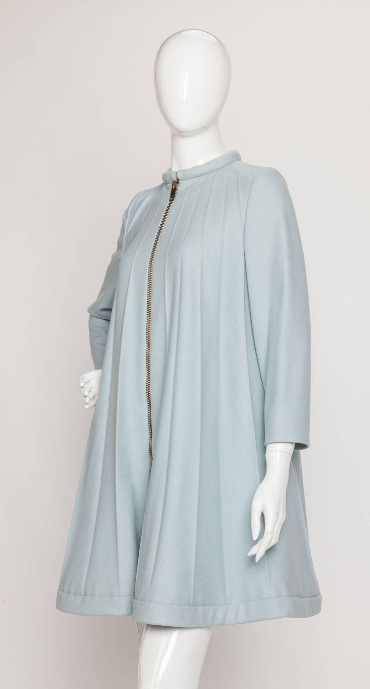 1967 Rare Iconic Pierre Cardin Wool Trapeze Accordian Pleat Coat Dress | From a collection of rare vintage coats and outerwear at https://www.1stdibs.com/fashion/clothing/coats-outerwear/