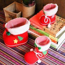 2 pçs/lote 2016 Reunindo Crianças Botas Doces para Decorações Da Árvore de Natal Presente de Natal Meias de Natal Saco Pequeno Presente alishoppbrasil