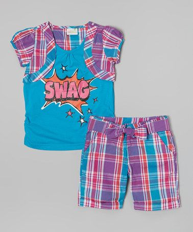 Loving this Blue Plaid 'Swag' Layered Top & Shorts - Infant, Toddler & Girls on #zulily! #zulilyfinds
