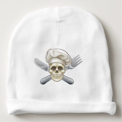 #Knife and Fork Pirate Chef Baby Beanie - #halloween #hats #party #ideas #idea #accessories
