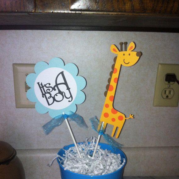 Giraffe It's a boy centerpiece sticks Safari centerpiece