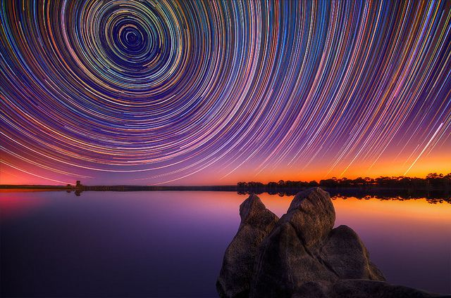 Long exposure of night sky Australia Outback.
