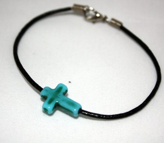 Turquoise Stone Cross Bracelet Stackable by SoJewelrySoYou on Etsy, $7.00 #cross #religion #God #spiritual #bracelet #jewelry #turquoise #teens