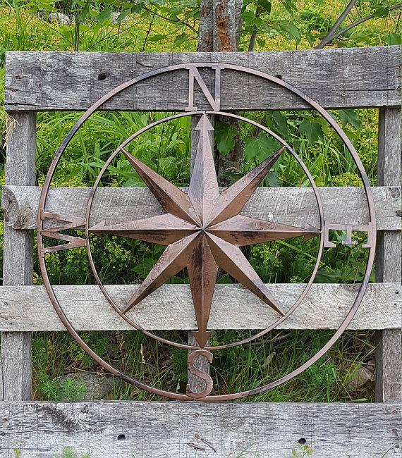 Rustic Cast Iron Rose Compass Nautical Beach House Wall Art//Outdoor Garden Decor