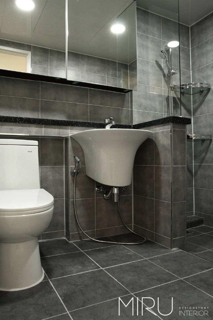 트랜디한 아파트 인테리어(베란다,욕실) : 모던스타일 욕실 by 미루디자인