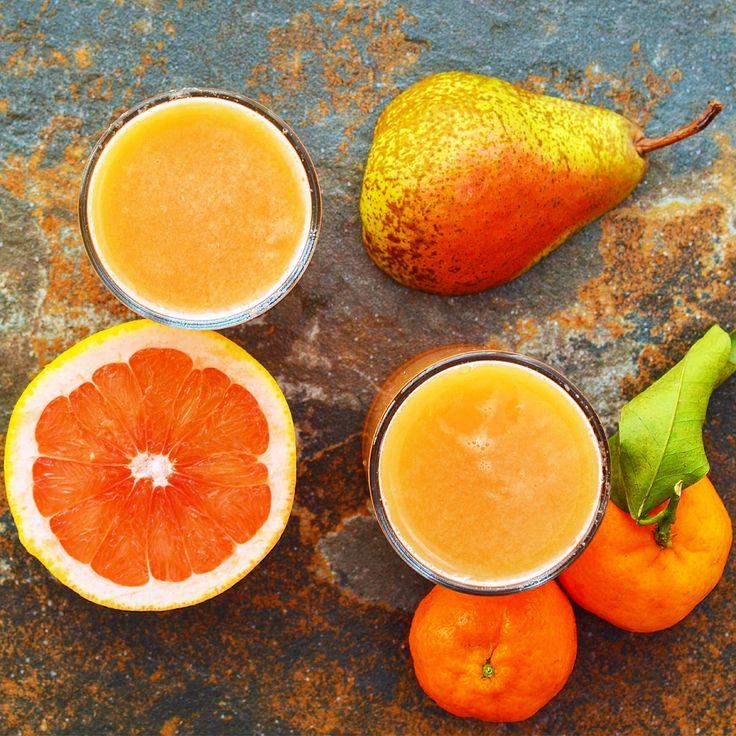 Juice - päron, grapefrukt och klementin! Receptet finns i meny 25. 😊  www.allaater.se