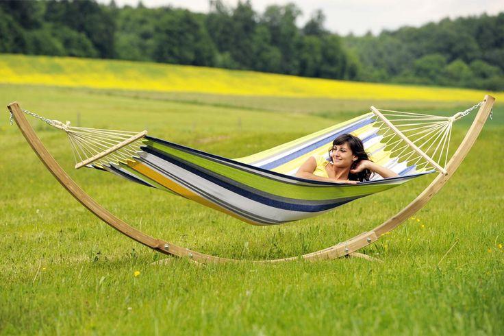 Star Set Kolibri Tonga Kolibri weather resistant hammock with a wooden arch hammock stand. Only £199.99