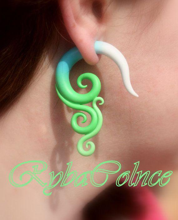 Fake ear gauge  Faux gauge/Gauge earrings/spiral by RybaColnce
