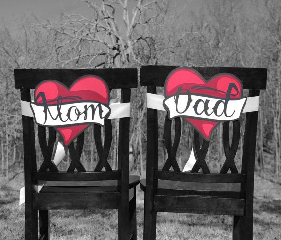Baby shower chair signs cut paper red black tattoo hearts decorations