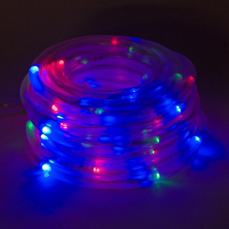 100 Light 32 ft. Solar Powered Integrated LED Red/Green/Blue Christmas Rope Lights