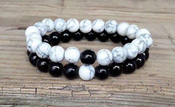 Howlite Round Beads 8mm White//Mixed 20 Pcs Stretchy Bracelet Gemstones Crafts