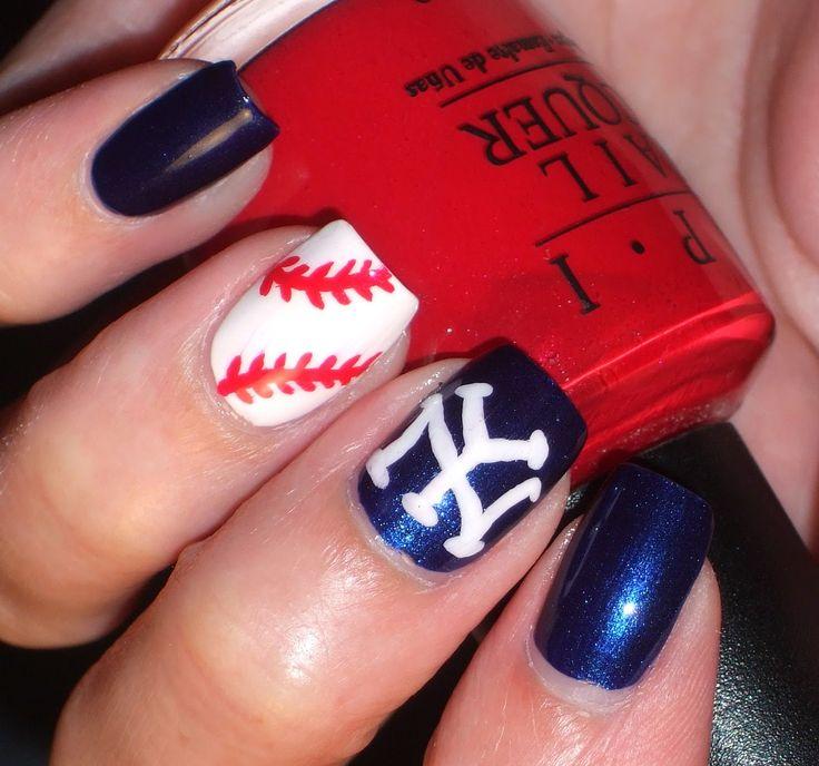 Progress Through Polish: Let's Go Yankees! - Baseball nails, New York Yankee nails