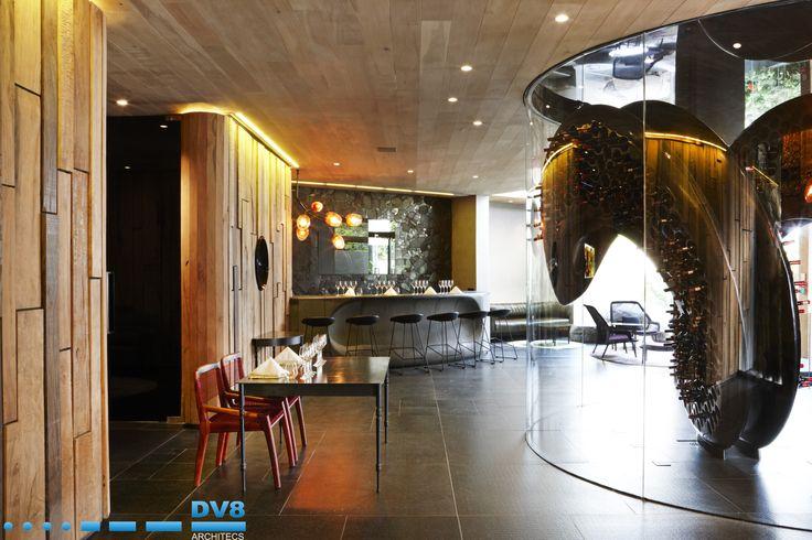 Ellerman Wine Gallery: Matumi wall panels with granite bar by Angus Taylor. DNA wine rack by Steinhobel Design.