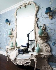 .Elle Decor, Blue, Vanities, Antiques Mirrors, Fleas Marketing Finding, Elledecor, Entryway, French Style, Mirrors Mirrors