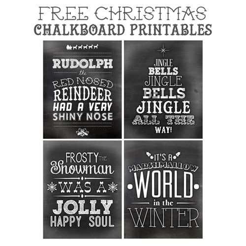 Adorable, high quality, free Christmas chalkboard printables - the perfect way to add a little holiday cheer to your home!