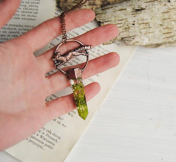 Fox necklace real moss necklace crystal necklace wolf