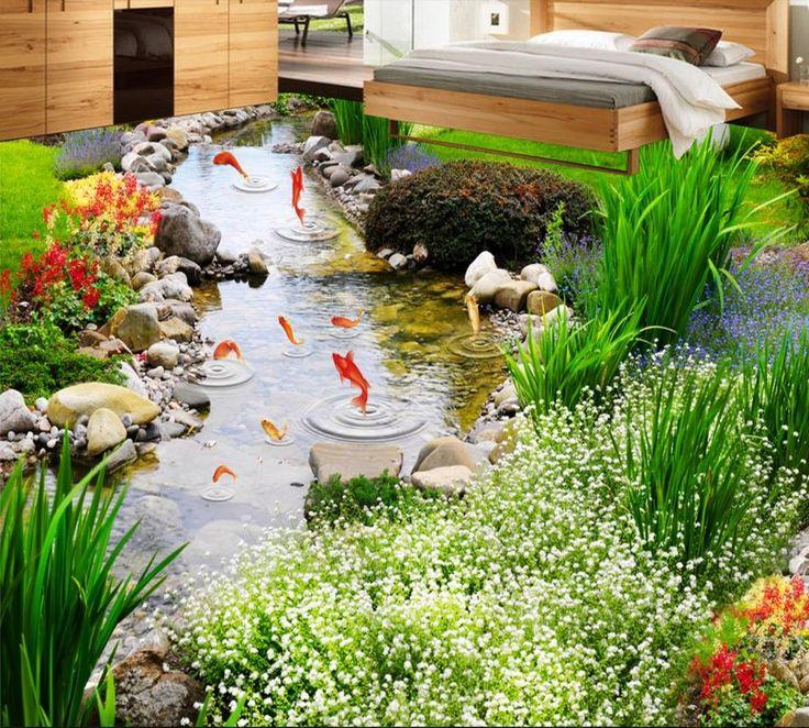 46.98$  Know more - http://aio88.worlditems.win/all/product.php?id=32698395940 - 3D floor green grass carp custom 3d pvc floor vinyl non-slip waterproof self adhesive 3d pvc wallpaper