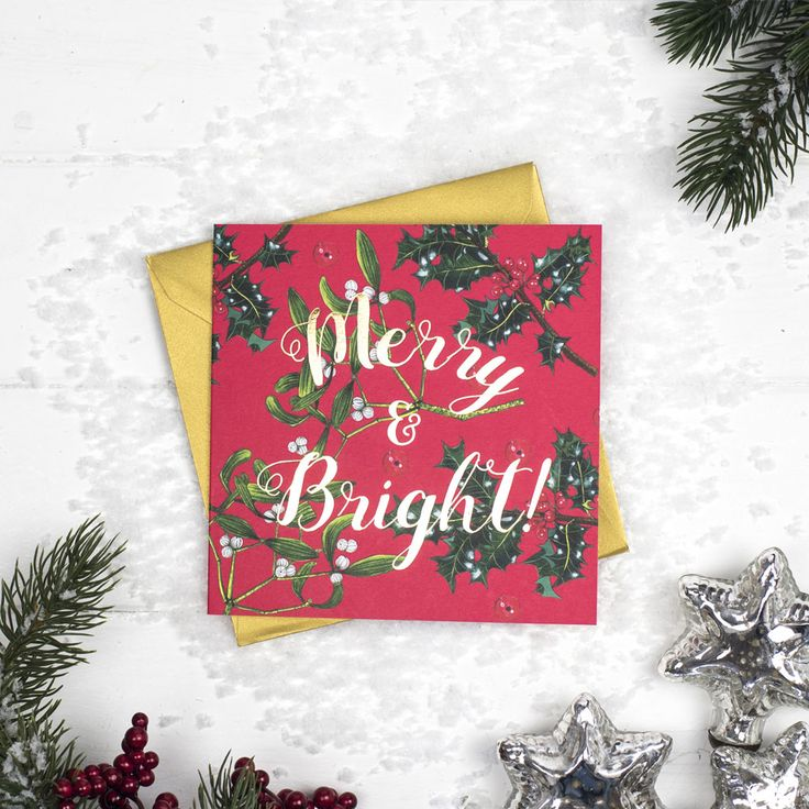 """Set Of 5 """"Merry & Bright"""" Cards"""
