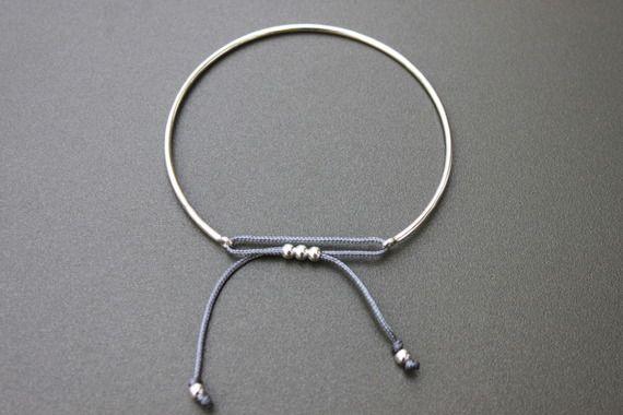 Bracelet jonc argent 925 cordon fil de jade gris et perles argent 925
