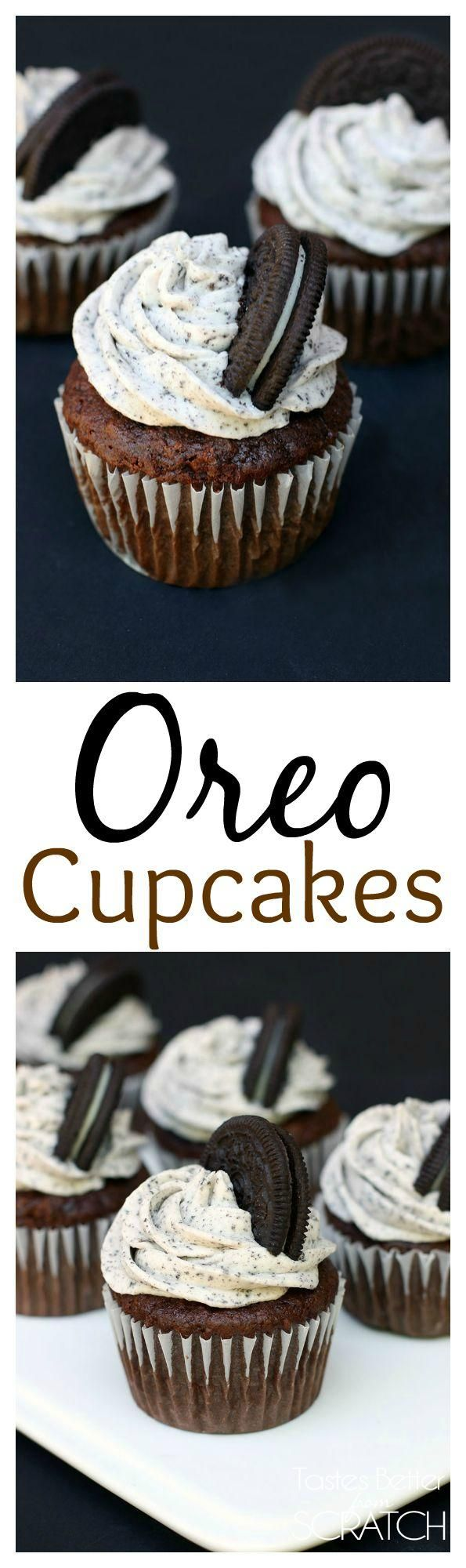 Chocolate cupcakes with Oreo Cream Frosting recipe from Tastes Better From Scratch