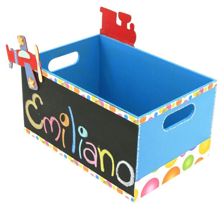 Original caja de madera con pizarrón color azul