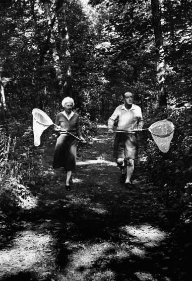 Vladimir Nabokov and his wife Vera chase butterflies near Six Mile Creek,  Ithaca, N.Y., 1958.