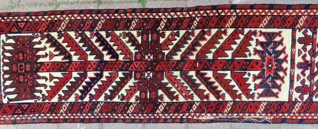 Antique Turkoman tente band fragment very nice colors size 1,16x42 cm Circa 1900