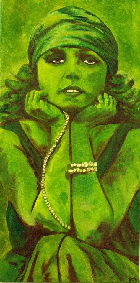 Hand Painted Green Lady