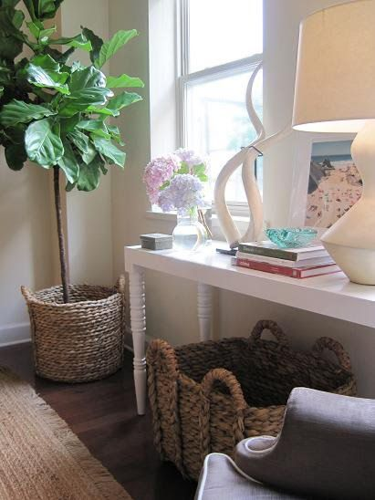 Elizabeth Sullivan Design - living rooms - fiddle leaf fig, fiddle leaf fig plant, fiddle leaf fig plant, white console table, seagrass baskets,
