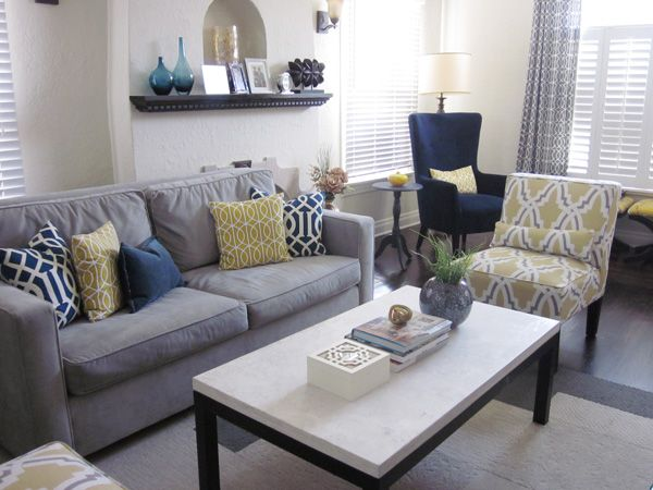 yellow and gray living room. loving the gray  navy and mustard muted yellow Best 25 Gray ideas on Pinterest Grey rooms