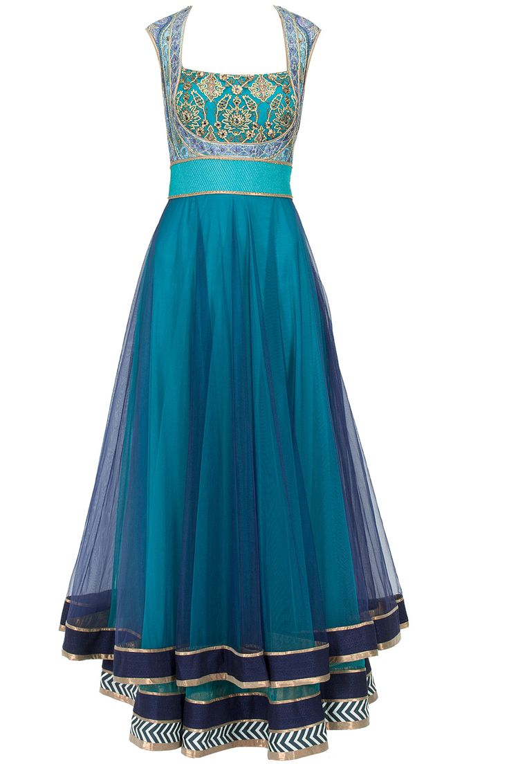 Turquoise to midnight blue ombre layered anarkali set available only at Pernia's Pop-Up Shop.