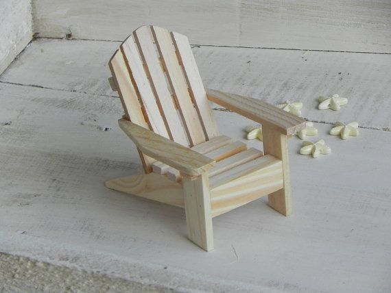 Adirondack Chair miniature ready to paint wood supplies for DIY craft project beach wedding cake topper starfish beads embellishments supply